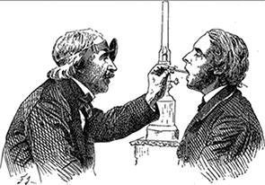Manuel Garcia using his laryngoscope.