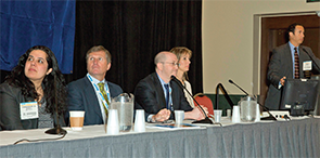 Experts sit on a Triological Society panel at COSM 2015.