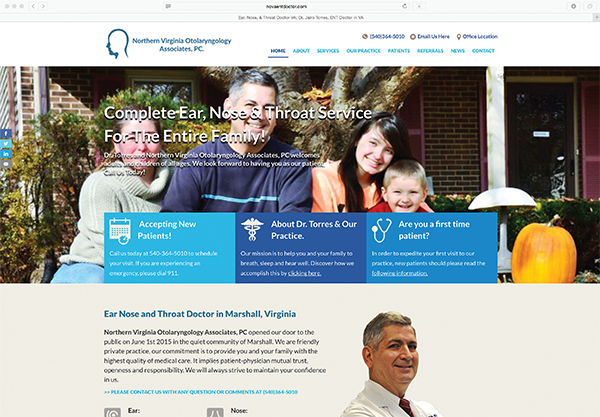 The Northern Virginia Otolaryngology Associates website home page, at novaentdoctor.com, highlights what the patient should know about the practice and offers easy navigation through menu tabs.