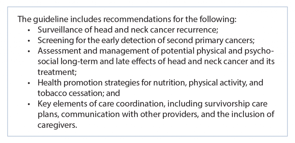 American Cancer Society Head and Neck Cancer Survivorship Care Guideline (2016)