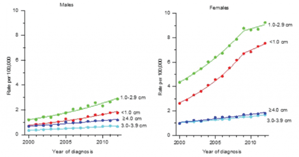 Incidence rates of differentiated thyroid cancer among males and females by tumor size (SEER, 18 Registries, 2000–2012).