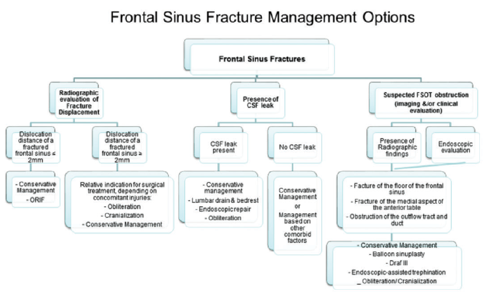 Figure 1. Algorithm for evaluation and management option of frontal sinus fractures.