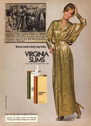 """Unfortunately, only a small tweak to the headline in the old newsplaper clip included in this 1970s Virginia Slims advertisement, so that it reads """"Otolaryngology Allows Women to Lead"""" and the removal of the cigarette (replaced with a scalpel, an endoscope or a drill), are needed to render this pertinent today."""