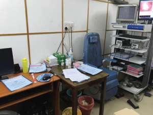 Dr. Yalamanchali's clinic room for conducting audiograms using portable audiometry.