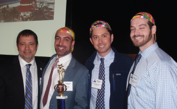 Winning team UCSD with Resident Bowl announcer Albert Merati, MD