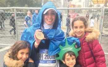 Dr. Darrat with her children at the NYC Marathon.