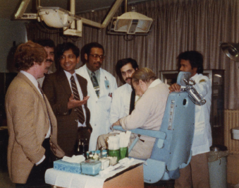 Dr. Shaha, center, leading teaching rounds with his residents and medical students while chief of head and neck surgery at the Veterans Affairs Hospital in Brooklyn, N.Y., in 1988.