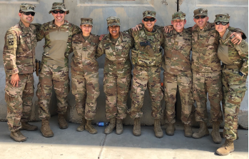 Phillip Zapanta, MD (fourth from the right) during his deployment for Operation Inherent Resolve.