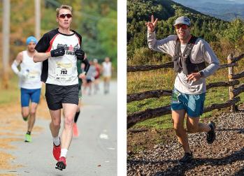 Left: Matt Miller, MD, competes at the Baystate Marathon and Half Marathon in 2019. Right: Jim Daniero, MD, competes in the 2020 Grayson Highlands 50k ultramarathon.