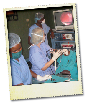 Dr. Woodson performing video bronchoscopy at Kilimanjaro Christian Medical Centre