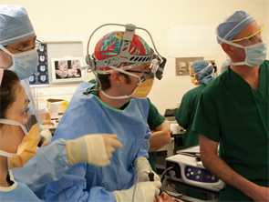 Matt Russell, MD, (center) performing a sialoendoscopy at UCSF.