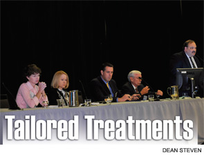 """Panelists at the session, """"Management Options for Unilateral Vocal Fold Paralysis: Making Sense of It,"""" on Jan. 28. From left to right: Gaelyn Garrett, MD, Gayle Woodson, MD, Clark Rosen, MD, Roger L. Crumley, MD, (moderator) and Randy Paneillo, MD."""