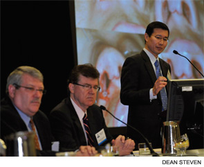 "Stephen Park, MD, speaking at the session, ""The Nasal Valve and Functional Rhinoplasty,"" on Jan. 28. W. Russell Ries, MD, and William Shockley, MD, are seated to the left, respectively."